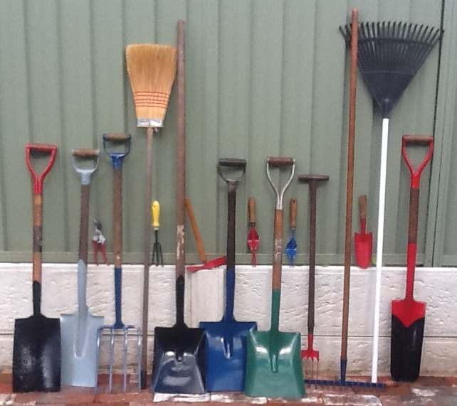 Photo of rejuvinated tools for the North Perth Community Garden.